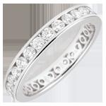 Fede nuziale - Oro bianco pavé - 18 carati - 29 Diamanti - incastonatura a binario - 1.07 carati