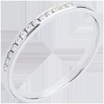 Fede nuziale - Oro bianco semi pavé - 18 carati - 13 Diamanti - incastonatura a binario