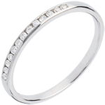 vendita on-line Fede nuziale - Oro bianco semi pavé - 18 carati - 13 Diamanti - incastonatura a binario