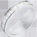Fede nuziale - Oro bianco semi pavé - 18 carati - Diamante - incastonatura a binario - 0.75 carati