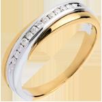comprare on-line Fede nuziale - Oro giallo e Oro bianco - 18 carati - 14 Diamanti - incastonatura a binario - 0.13 carati