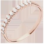 Fede nuziale - Oro rosa - 18 carati- 11 Diamanti - incastonatura a griffe