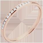 Fede nuziale - Oro rosa - 18 carati - 13 Diamanti - incastonatura a binario