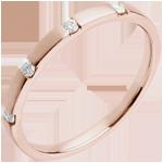 Fede nuziale Oro rosa - 18 carati - 4 diamanti
