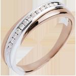 Fede nuziale - Oro rosa e Oro bianco - 18 carati - 14 Diamanti - incastonatura a binario - 0.13 carati