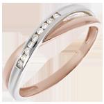 matrimonio Fede nuziale - Oro rosa e Oro bianco - 18 carati - 9 Diamanti