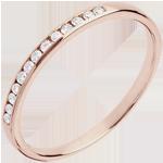 Fede nuziale - Oro rosa semi pavé - 18 carati - 13 Diamanti - incastonatura a binario
