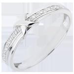 oreficeria Fede nuziale - Segno d'Amore - Oro bianco - 9 carati - 14 Diamanti