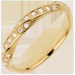 Fede nuziale - Treccia preziosa - Oro giallo - 18 carati - 20 Diamanti - 0.10 carati