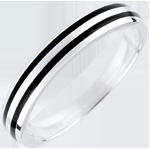 Fede nuziale Uomo Chiaroscuro - Due linee - Oro bianco - 9 carati