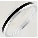 Fede nuziale Uomo Chiaroscuro - Una linea - Oro bianco e lacca nera - 18 carati