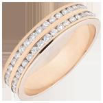 Fede oro rosa semi pavée - incastonato rotaia 2 file - 0.32 carati - 32 diamanti - 18 carati