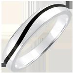 Fede Oro Uomo Chiaroscuro - Onda - Oro bianco e lacca nera - 9 carati