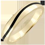 Fede Oro Uomo Chiaroscuro - Onda - Oro giallo e lacca nera - 9 carati