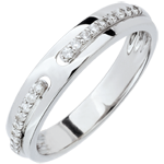 Fede Promessa - modello grande - Oro bianco - 9 carati - Diamanti