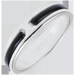 Fede Promessa - Oro bianco - 18 carati - Lacca nera - 5 mm