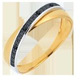 Fede Saturno Duetto - Oro giallo e Oro bianco - 18 carati - Diamanti neri