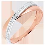 Fede Saturno Duetto - Oro rosa e Oro bianco - 18 carati - Diamanti