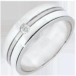 Fede Star Diamante - modello grande -Oro bianco spazzolato - 9 carati