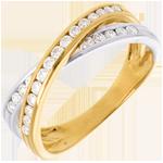 Fede Tandem pavé - Oro bianco e Oro giallo - 18 carati - 25 Diamanti - 0.38 carati