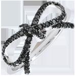 Geschenke Feine Schleife mit schwarzen Diamanten - Silber und Diamanten
