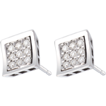 Frame Stud Earrings - paved white gold - 0.27 carat - 18 diamonds
