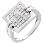 Framed diamond ring white gold paved - 0.45 carat - 25diamonds