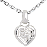 gifts Framed heat with diamond paving white gold - 7 diamonds