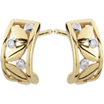 gifts Freshness Earrings - Creole Foliage - yellow gold - 9 carats