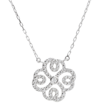 gold jewelry Freshness Necklace - Clover Arabesque - white gold and diamonds