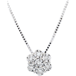 gifts woman Freshness Necklace - Flower Snowflake - 7 diamonds and white gold