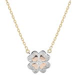 present Freshness Necklace - Sparkling Clover - 3 golds and diamonds