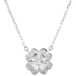 Freshness Necklace - Sparkling Clover - white gold and diamonds