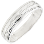 on line sell Freshness wedding ring - Palm variation engraved white gold - 9 carat