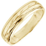 gift woman Freshness wedding ring - Palm variation engraved yellow gold - 9 carat
