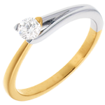 Fusion Solitaire ring - yellow and white gold - 0.23 carat