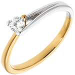 gift Fusion Solitaire ring yellow gold-white gold
