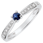 wedding Garlane Solitaire Ring set with 4 claws - 0.14 carat sapphire and diamonds - white gold 9 carats