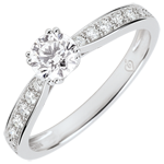 gold jewelry Garlane Solitaire Ring with 8 claws - 0.4 carat diamond - white gold 9 carats