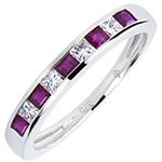 Gekleurde trouwring Oorsprong - wit goud 9 karaat, saffieren en diamanten