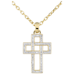 Geometric Diamond Cross Pendant
