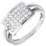 Geometry ring paved white gold - 0.36 carat - 28 diamonds