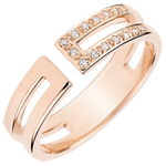Gloria Ring - 15 diamonds - pink gold 18 carats