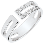 Gloria Ring - 15 diamonds - white gold 9 carats