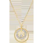 Gouden halsketting en diamanten - Gezouten Bloem - Cirkel - geel goud - 18 karaat
