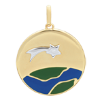 Green and Blue Lacquer A Star Is Born Medal with 1 diamond - 18ct