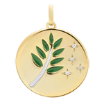 Green Lacquer Olive Branch Medal with 4 diamonds - 9ct