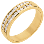 buy on line Half eternity ring gold semi-paved double channel - 0.36 carat - 24 diamonds