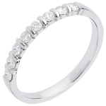 Half eternity ring white gold semi paved-bar prong setting - 0.3 carat - 8 diamonds