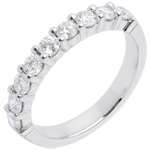 Half eternity ring white gold semi paved classic prong setting - 0.75 carat - 9 diamonds